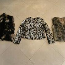 Lot of (3) i.n.c and Express Faux Fur Vest Blush Waistcoat Jacket Size Small Photo