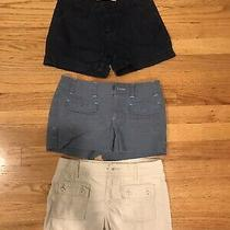 Lot of 3 Pair of Girls Shorts Size 8 Denim Beige Steel Blue Photo