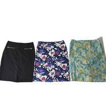 Lot of 3 Talbots Sz 8 Pencil Skirts Zip Closure 1 Black 2 Multicolor Floral Euc Photo