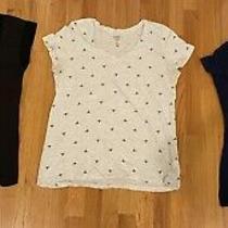 Lot of 3 Womens Short/cap Sleeve Shirts Calvin Klein Gap Nautica Size L Photo