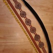 Lot of 3 Womens Leather Belts in Camel/black & Brown in Size Size M Photo