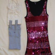 Lot of 3 Womens Tank Tops Size Xs/s Gap Express Sparkle Lace and Sequins Photo