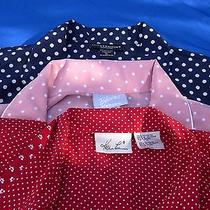 Lot of 3 Xl Cool Summer Polka Dot Dresses in White Blush Navy  Red Great Buy Photo