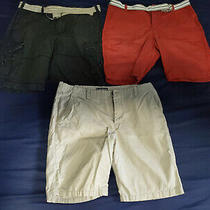 Lot of 3x Express Mens Shorts & Belts Size 33 & 32 Black Red Gray Photo