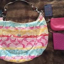 Lot of 4 Coach Items- Handbag Shoulder Multi Color Authentic Id  Very Used Photo