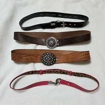 Lot of 4 Ladies Belts Fossil Betsy Johnson Size M Photo