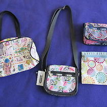 Lot of 4 Lesportsac Bags by Sara Schwartz Nicola and Other Print Euc  Photo