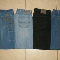 Lot of 4 Pants Carhartt Wrangler Bean Denim Flannel Lined Work Pants Men 36 X 32 Photo