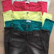 Lot of 5 Express Pants Jeggings Twill Stretch Size 6 Bright Colors/black Photo