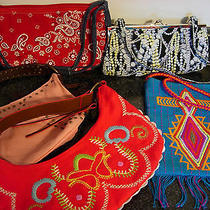 Lot of (5) Ladies Handbags Clutch Purses Old Navy Lulu Other Used Photo