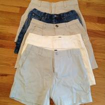Lot of 5 Ladies Shorts Gap Banana J Crew White Blue Beige Clean Cut Denim Size 6 Photo