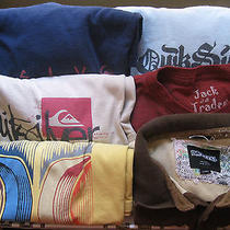 Lot of 5 Mens Xlarge Name Brand Ss Tshirts Quicksilver Hurley Billabong All Xl Photo