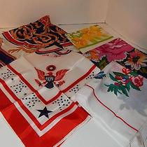 Lot of 5 Satiny Womens Scarves Handkerchiefs R.n. Italy Avon Sw Kent & Other Photo
