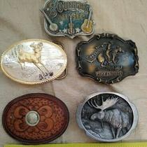 Lot of 5 Usa Belt Buckles Vintage Moose Deer Pony Express Country Music Gp Brass Photo