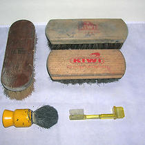 Lot of 5 Vintage Shoe Shine Brushes Kiwi & Others Photo