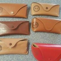 Lot of 6 Ray Ban Tan Leather Designer Sunglasses Cases W/ Vintage One Red Photo
