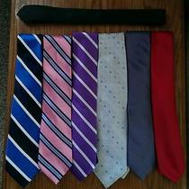 Lot of 7 Multi-Design Silk Neck Ties Express Tommy Hilfiger Dkny Designer Brands Photo