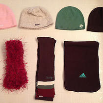 Lot of  Nwot 3 Scarfs & 4 Knit Hats Adidas Echo Bula Hurley Burton Photo