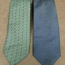 Lot of Twogucci Tie Gg Monogram Blue Silk Woven Necktie & Vineyard Vine Fish Tie Photo