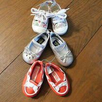 Lot Oshkosh Toddler Baby Mary Jane Pewter Gymboree Red Loafers & Floral Sneakers Photo