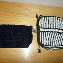 Lot the Sak Crochet Makeup Bag Clutch Handmade Black White   Photo