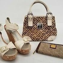 Lot Women's Shoe Handbag and Wallet Guess Wedge Sandals Tignanello Lauren Rl Photo