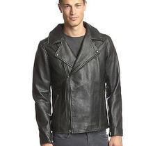 Lot78 Box Zip Front Mens Leather Motor Biker Jacket Made in Italy 1200 New Sz L Photo