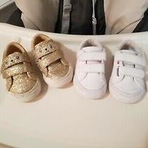 Lots of 2 Excellent Girls Children Place Sneakers White and Gold Sz. 4 Photo