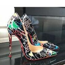 Louboutin Black Graffiti So Kate Loubitag Patent Stiletto Pumps 35.5 Worn Twice Photo