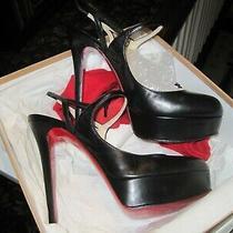Louboutin Fine Bretelle 140 Black Kid Size 40 New Soles Heel Taps Polish Photo