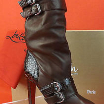 Louboutin Loubi Bike Burgundy Leather Python Belted Buckles Platform Boots 38.5 Photo