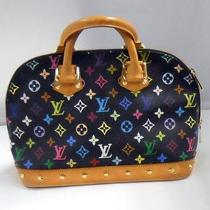 Louis Vuitton Alma Monogram Black W/ Multicolor Leather & Canvas Excellent Cond Photo