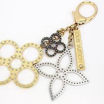 Louis Vuitton Auth M65722 Bag Charm Key Ring Gold Silver Bronze Excellent 0206 Photo