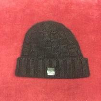 Louis Vuitton Black Cashmere Beanie Cap Hat Leather Lv Logo  Photo