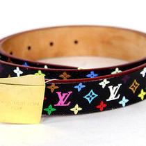 Louis Vuitton Black Monogram Multicolore Gold Buckle Belt 80 Photo