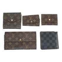 Louis Vuitton Bulk Set of 5 Wallet Monogram Leather Brown Damie Blue Women Use Photo