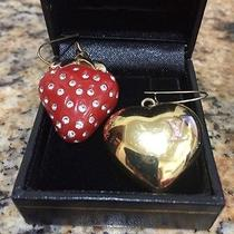 Louis Vuitton Fraise Strawberry Heart Earrings Red Enamel Gold Glitter Only 149 Photo