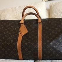 Louis Vuitton Keepall Luggage Bag Brown Monogram Canvas Duffle Name Tag Vtg Photo