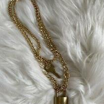 Louis Vuitton Lock and Key Brass Necklace Chain Photo