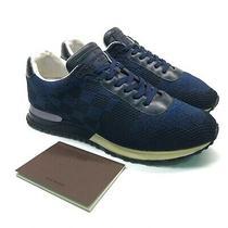 Louis Vuitton Mens Blue Damier Knitted Fabric Run Away Sneakers Logo Us 10 Eu 44 Photo