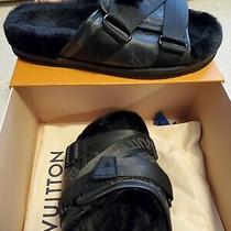 Louis Vuitton Mens Honolulu Mule Monogram Canvas and Faux Fur Size 6.5 Us Photo