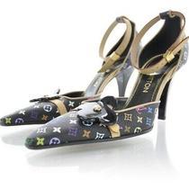 Louis Vuitton Murakami Black Multicolor Monogram Dorsay Stiletto Heels Pump Euc Photo