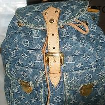 Louis Vuitton Neo Monogram Denim Backpack No Reserve       Photo