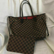 Louis Vuitton Neverfull Mm Bag Damier Ebene Canvas (Brown) Photo