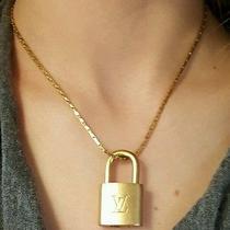 Louis Vuitton Padlock Necklace 100% Authentic Brass Lv Lock on 14k Gf 16