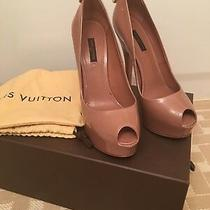 Louis Vuitton Patent Oh Really Beige Rose Peep Toe Pumps Sz 38.  Photo