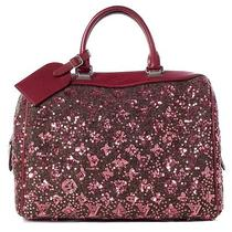 Louis Vuitton Sequin Monogram Sunshine Express Speedy Bag Purse Burgundy Lv Photo