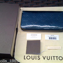 Louis Vuitton Vernis Zippy Wallet Bleu Nuit Limited Edition Teal Aqua Color Photo