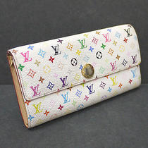 Louis Vuitton White Multicolor Sarah Wallet 100% Authentic Photo