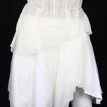 Louis Vuitton White & Nude Organza Tiered Corset Detail Skirt 38 Photo